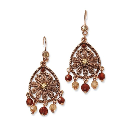 1928 Boutique Copper-tone Lt. Colorado & Brown Crystal Dangle Earrings