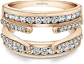 14k Gold Combination Cathedral and Classic Ring Guard with White Sapphire 049 ct twt