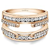 1.04 ct. Cubic Zirconia Combination Cathedral and Classic Ring Guard in Rose Gold Plated Sterling Silver (1 ct. twt.)