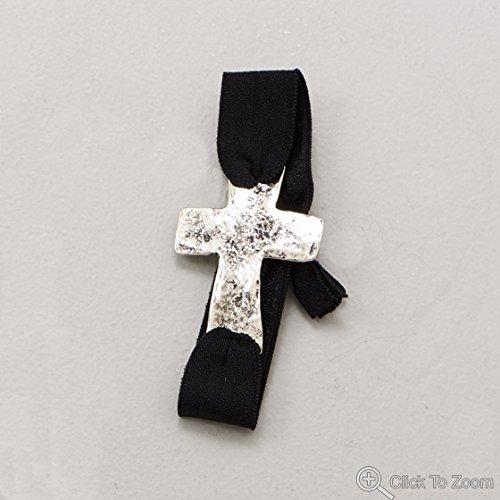 Black Stretch Fashion Bracelet With Silver Tone Sideways Cross