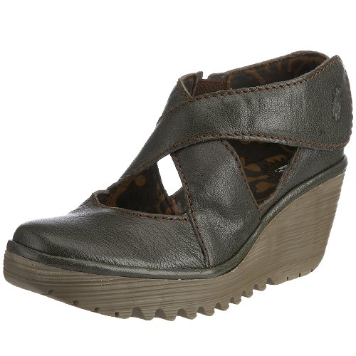 Fly London Women's Yogo Wedge Sandal Leather Military P500045012 5 UK