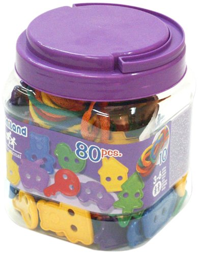 Miniland Lacing Shapes (80 Figures + 10 Cords)/Jar
