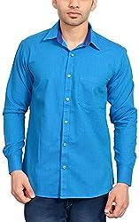 Libisto Lifestyle Men's Casual Shirt (AA8-03-FS-SOLID DODGER BLUE-7780, Blue, M)