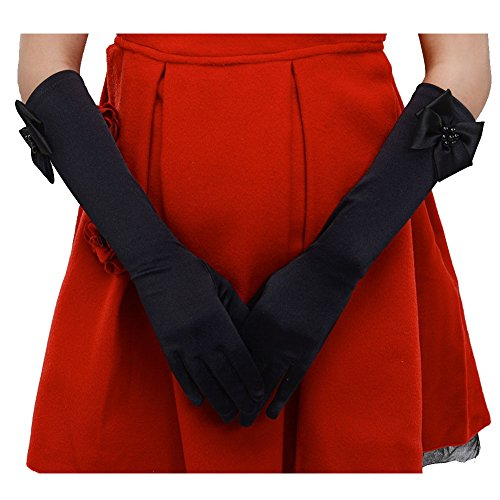 Tandi Favorite Girls Gorgeous Satin Fancy Stretch Dress Formal Pageant Party Long Gloves (Medium, (Long Gloves Fancy Dress)