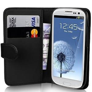 JAMMYLIZARD | Pochette NOIRE en cuir exclusive avec deux cases pour vos cartes bancaires pour Samsung Galaxy S3 i9300 - protège écran inclus !