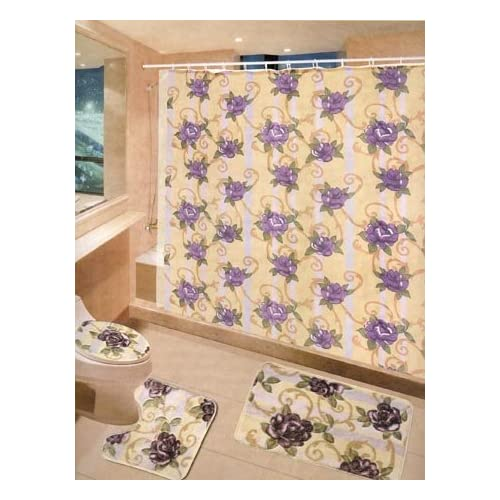 3 PC SETS W CURTAINS PURPLE FLOWER BATHROOM