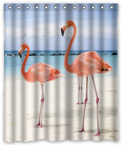Graceful Flamingo Waterproof Polyester Fabric Shower Curtain