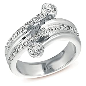 14k White Gold .67 Dwt Diamond Right Hand Ring - JewelryWeb