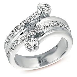 14k White Gold .67 Dwt Diamond Right Hand Ring - JewelryWeb