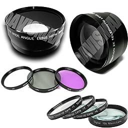 58MM 0.45X Wide Angle Lens + Macro & 2X Telephoto Lens Includes LIFETIME WARRANTY, Lens Caps, Lens Bag + 4 Piece Macro Close Up Lens Set, 3 Piece Filter Kit, DavisMAX FiberCloth for Canon Rebel EOS T2i T3i T1i XT XS XSi XTi T3 & MORE!