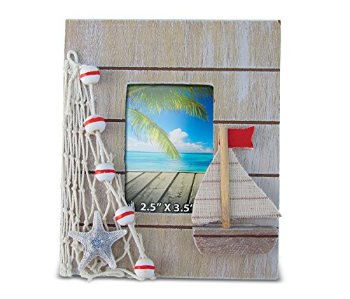 Puzzled Nautical Decor Brown Frame, 4 x 6""