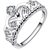 BOHG Jewelry Womens 925 Sterling Silver Plated Cubic Zirconia CZ Princess Crown Tiara Ring Wedding Band Size 8