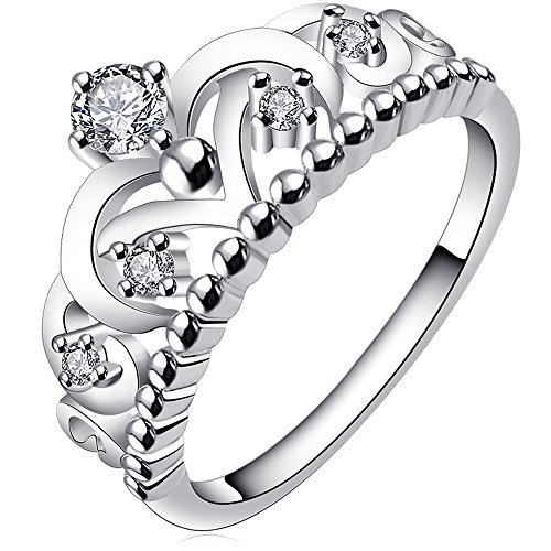 BOHG Jewelry Womens 925 Sterling Silver Plated Cubic Zirconia CZ Princess Crown Tiara Ring Wedding Band Size 6