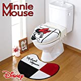 NDY-12 シンプルでおしゃれなミニーのトイレ2点セット 蓋カバー トイレマット ディズニー Disney ミニーマウス トイレタリー