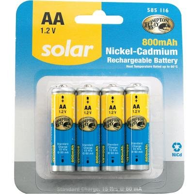 REPLACEMENT 1.2-v (800 mAH) NiCd Solar Batteries for Outdoor Solar LED Lights , Set of Four Batteries
