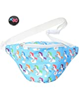 Blue Neon Fanny Pack with Unicorns and Button