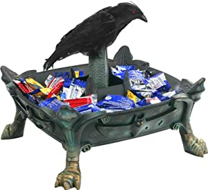 Animated Raven Halloween Candy Bowl