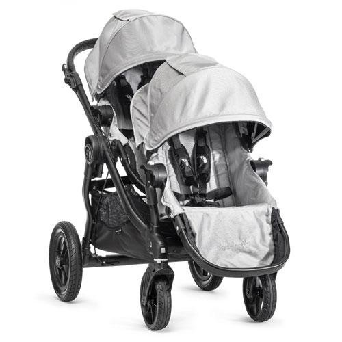 Baby Jogger City Select Black Frame Stroller W/ 2Nd Seat, Silver front-744691