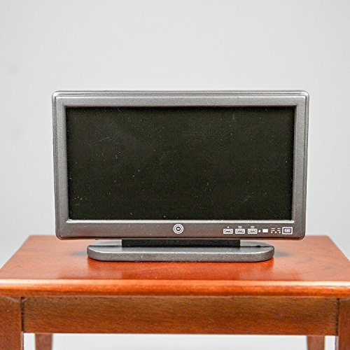 A Black Resin Television Tv Wide Screen Miniature Toy Doll House Accessory Gift