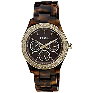 Fossil Women's ES2795 Stella Crystal-Accented Tortoise Shell-Tone Watch with Link Bracelet