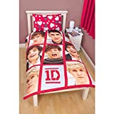 One Direction Childrens Girls Boyfriend Reversible Duvet / Quilt Cover Bedding Set (Full Bed) (Red/White)