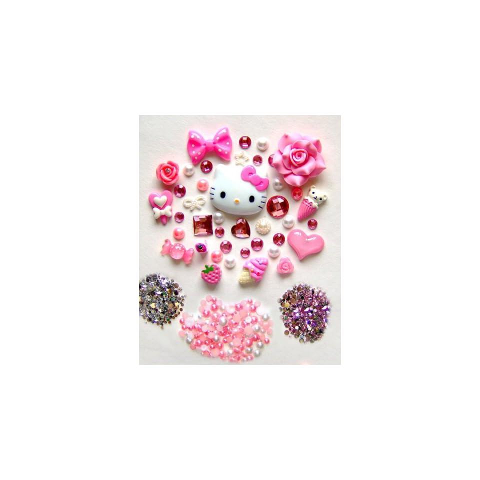 DIY Hello Kitty Bling Bling Cell Phone Case Resin Flatback Deco Kit / Set    lovekitty