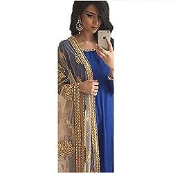 Pramukh Group Banglory Silk Blue Semi Stitched Anarkali - Dress Material