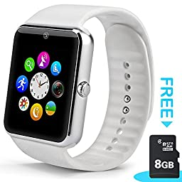 StarryBay Smart Watch Bluetooth Sweatproof Wrist Watch with Touch Screen for Notification Push /Handsfree Call for Andorid - black