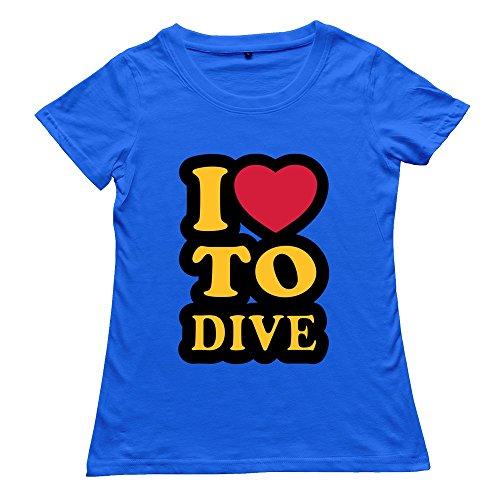 Hoxsin Royalblue Women'S Love Dive Nerd Short Sleeve T Shirts Us Size S
