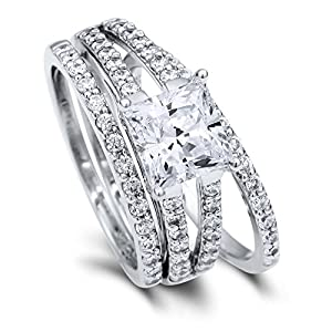 BERRICLE Sterling Silver Princess Cut Cubic Zirconia CZ Solitaire Womens Stackable Ring Set from BERRICLE