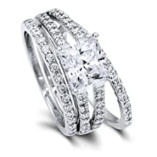 buy Berricle Sterling Silver Princess Cubic Zirconia Cz Solitaire Engagement Split Shank Ring Set