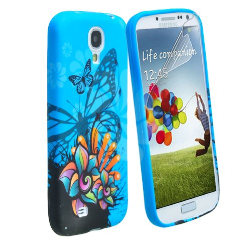 Beeshine Protective Soft Rubber Skin Flexible Tpu Gel Case Cover With Lcd Film Screen Protector For Samsung Galaxy S4 Siv I9500 (Blue Butterfly Pattern)