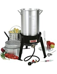 Bayou Classic 3016 30-Quart Outdoor Turkey Fryer with Basket and Fry Pot by