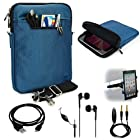 BLUE Mighty Nylon Jacket Slim Compact Protective Sleeve Shoulder Bag Case with accessories For HTC Jetstream Android Tablet Computer + Includes a eBigValue (TM) Determination Hand Strap + Includes a Black Micro USB Data Sync Cable + Auxilary Cable ( AUX Connectivity ) + Adjustable HeadRest Car Mount Kit + High Quality Noice Reducer MP3 Handsfree Earbuds Earphones with Mic