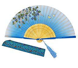 Meifan Beautiful elegant Hand-crafted Chinese Japanese Hand Held Folding Fan FMF (Blue)