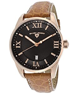 Men's Bellezza Black Textured Dial Brown Genuine Alligator