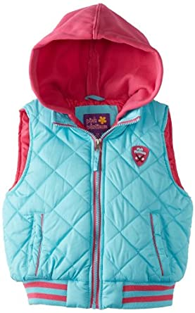 Pink Platinum Big Girls'  Quilted Vest, Turquoise, 10/12