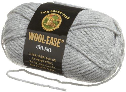 Lion Brand Yarn 630-155E Wool-Ease Chunky Yarn, Silver Grey