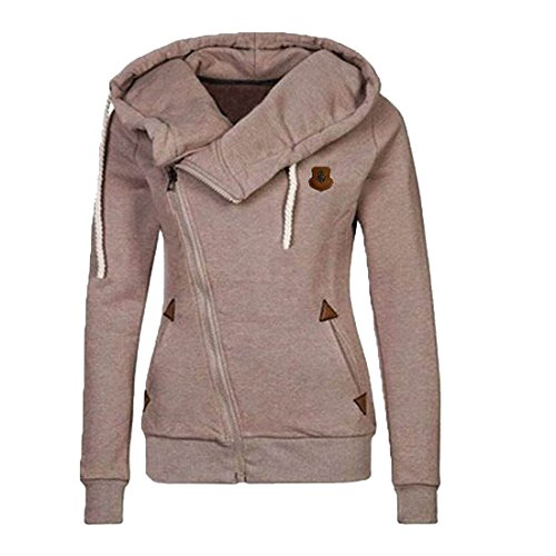 Unko Women's Solid Essential Long Sleeve Hoodie Sweatshirts Khaki L