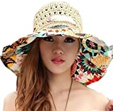 DEEPEYES レディース uv 折りたたみ つば広 おしゃれ 麦わら 帽子 全5色 ネックレス セット ハット キャップ ぼうし 大きい サイズ 花柄 紫外線 熱中症 日焼け 対策 夏 ビーチ (クリーム色)