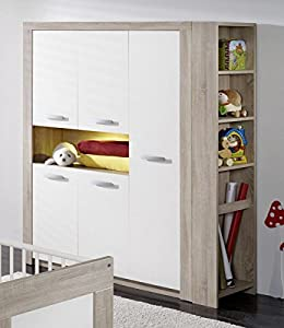 dreams4home kleiderschrank 39 leo 39 schrank kinderzimmerschrank babyzimmer kinderzimmer sonoma. Black Bedroom Furniture Sets. Home Design Ideas