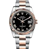 Rolex Datejust 36 Steel Rose Gold Watch Black Dial Oyster 116231 Rating
