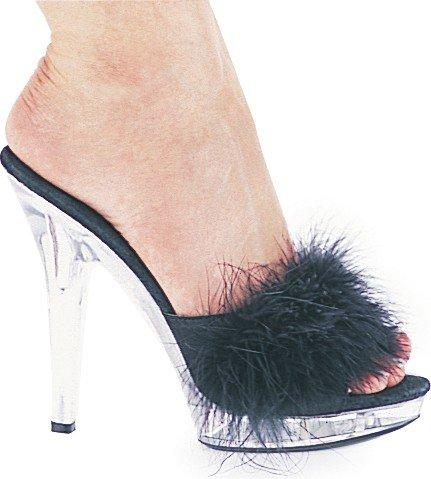 Cheap 5 Inch Heel Marabou Slipper Women'S Size Shoe (SASHA BLK 11)