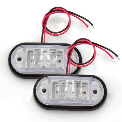 2 x Car Truck Trailer Piranha LED Side Marker Blinker Light Lamp Bulb White