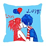 MeSleep Digitally Printed Couple Valentine Cushion Cover - Blue