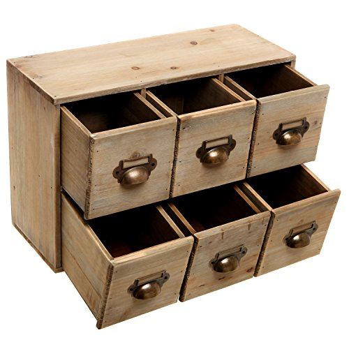 Vintage style wood 6 drawer cabinet box decorative - Wooden desk organizer with drawers ...