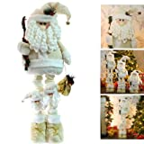 Large Free Standing Father Christmas Santa Claus Floor Decoration with Extendable Legs in Cream & Gold - Height 50-100cm