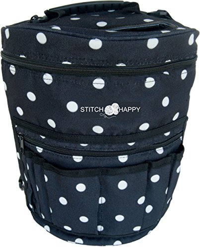 Stitch Happy Knitting Bag Yarn Storage with 7 Multi-Use Pockets and Extra Large Zippered Pocket for Crochet Supplies Inner Organizer Protects Crochet Thread Wool Yarns (Crochet Organizer Tote compare prices)
