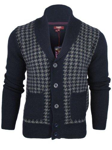 Mens Merc London Wool Rich Cardigan/ Jumper Dog Tooth Pattern
