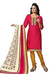 HIFI Ethnicwear Women's Dress Material(HIFI 3403_Red_Free Size)